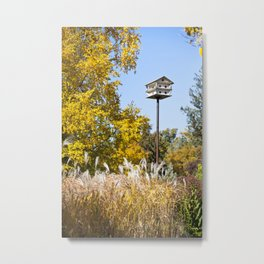 Fall Birdhouse Metal Print