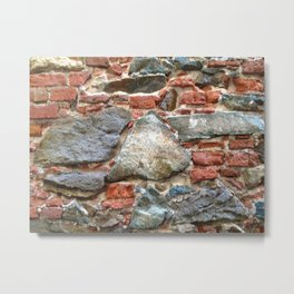 Stone, Brick, Coral, Wall, Historic St. Thomas, USVI Metal Print