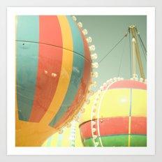 Up Up & Away I Carnival, fair, ride, hot air balloon, whimsical, fun rainbow, adventure, pastel,  Art Print