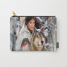 Mountain Woman With Wolfs Carry-All Pouch