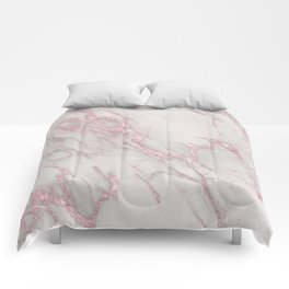 Marble Love Rose Gold Pink Metallic Comforters