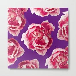 Pink Tulips On A Violet Background #decor #society6 #homedecor #buyart Metal Print