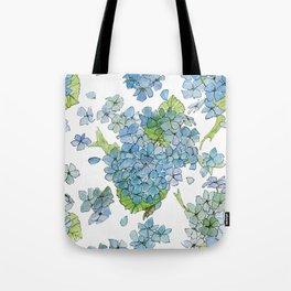 Blue Hydrangea Watercolor Tote Bag
