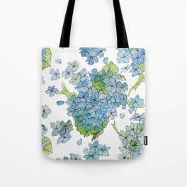 Blue Hydrangea Watercolor Tote Bag