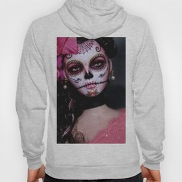 Mexican Hibiscus Day of the Dead Skull Hoody