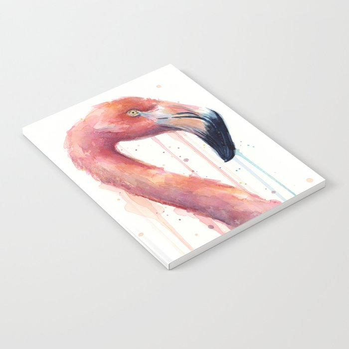 Watercolor Pink Flamingo Illustration | Facing Right Notebook