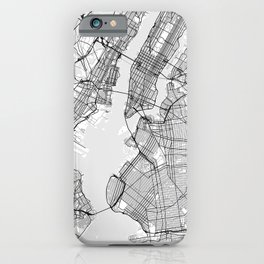 Scandinavian map of New York City in grayscale iPhone Case