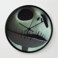 jack skellington Wall Clocks featuring Jack Skellington (Nightmare Before Christmas) by LT-Arts