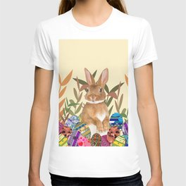 Bunny in garden with colored Easter eggs T-shirt