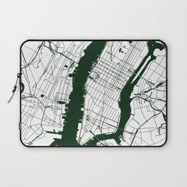 New York City White on Green Street Map Laptop Sleeve