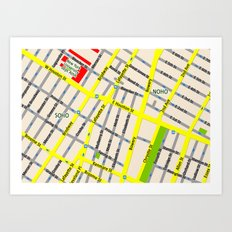 NEW YORK map design - SOHO area Art Print