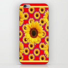 Red  & Violet Accents Color Sunflowers Pattern Art iPhone Skin