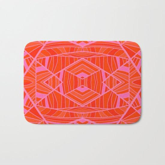 Mostly Orange Geo Pattern Bath Mat