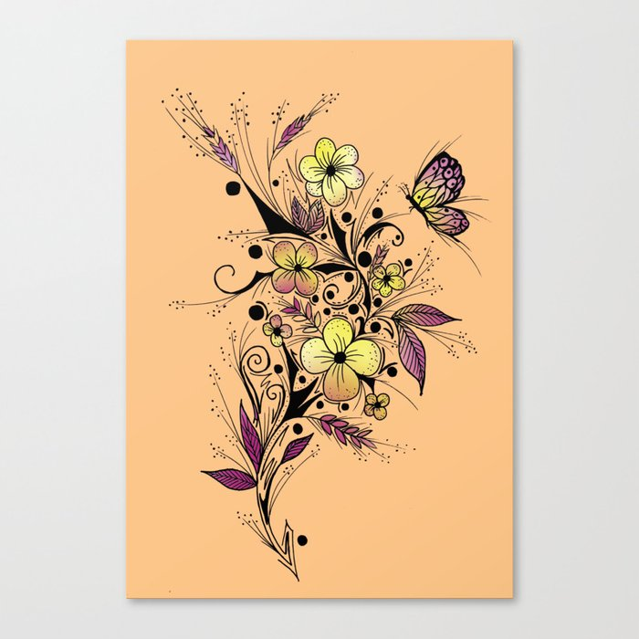 Flower Tattoo in Yellow and Purple Canvas Print