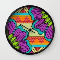hippy Wall Clocks featuring Hippy tribal by Pooja Jeshang