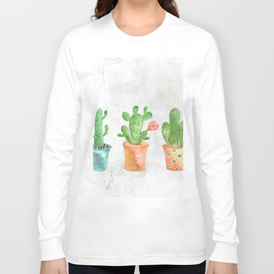 Three Green Cacti Watercolor White Long Sleeve T-shirt