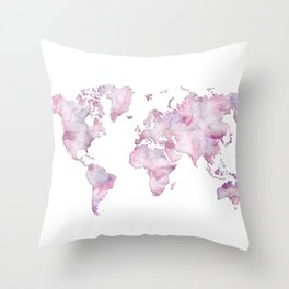Lavander and pink watercolor world map Throw Pillow