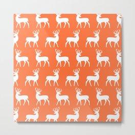 Mid Century Modern Deer Pattern Orange Metal Print
