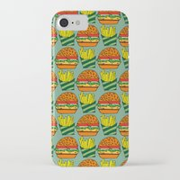 vegetarian iPhone & iPod Cases featuring burger vegetarian and french fries by fmppstudio