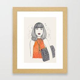 Orange&Python&Clouds Framed Art Print
