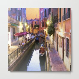 Sunset Alley In Venice Italy Metal Print