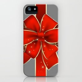 Red Bow on Silver iPhone Case