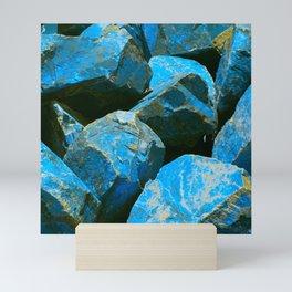 Azure Blue Boulders From Baja Peninsula, Mexico Mini Art Print