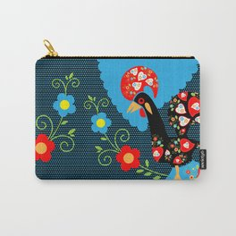 Portuguese Rooster with blue dots on black background  Carry-All Pouch