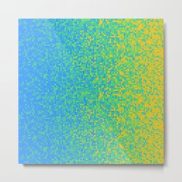 Blue Lime Yellow Pixilated Gradient Metal Print