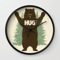 bear Wall Clocks featuring Bear Hug? by Fanboy30
