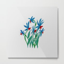 Hand painted watercolor floral blue and red flowers Metal Print