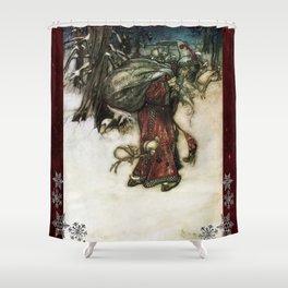 Father Christmas 2, Vintage Arthur Rackham Santa Shower Curtain