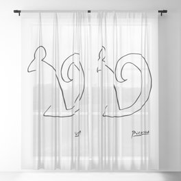 Pablo Picasso, The Squirrel, Artwork, Animals Line Sketch, Prints, Posters, Bags, Tshirts, Men, Wome Sheer Curtain
