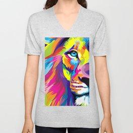 LION-FACE-ART Unisex V-Neck