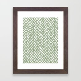 Boho Herringbone Pattern, Sage Green and White Framed Art Print