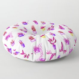 Hand painted magenta pink lilac yellow watercolor cactus floral Floor Pillow