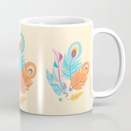 Stylized Peacock Feather Design Coffee Mug