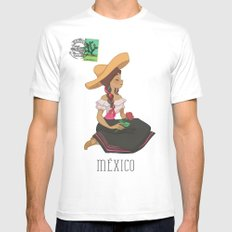 México postal  Mens Fitted Tee White MEDIUM