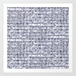 Paynes Grey Watercolor Tile Pattern Art Print