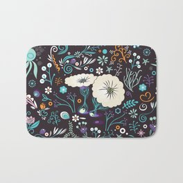Subsea floral pattern Bath Mat
