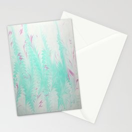 Light Blue Thistle Water Marbling Stationery Cards