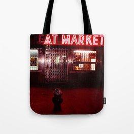 Night Lights Victors Meat Market, NYC Tote Bag