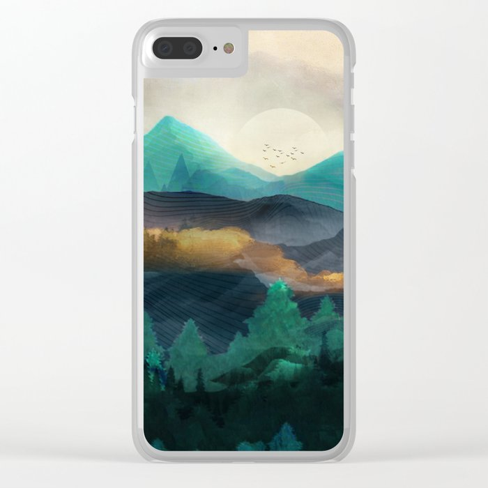 Green Wild Mountainside Clear iPhone Case
