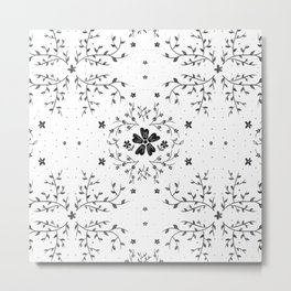 Spring Florals - Black and White Palette Metal Print