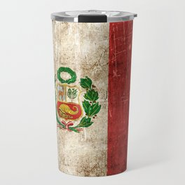 Vintage Aged and Scratched Peruvian Flag Travel Mug