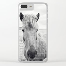 Horse Print | Black and White Rustic Horse Art Clear iPhone Case