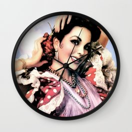 Jesus Helguera Painting of a Delightful Mexican Calendar Girl Wall Clock