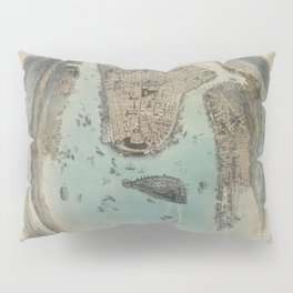 Vintage Circular Pictorial Map of NYC (1859) Pillow Sham