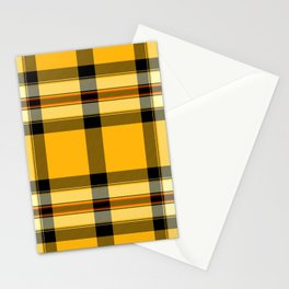 Argyle Fabric Plaid Pattern Autumn Colors Yellow and Black Stationery Cards