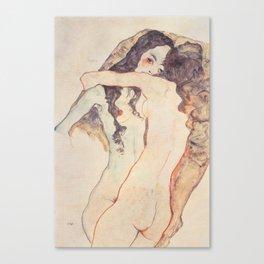 Zwei sich umarmende Frauen (1911) - Egon Schiele Canvas Print